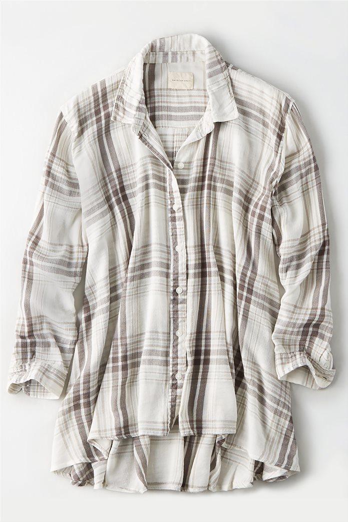 AE Plaid Tunic Button Up Shirt Κρέμ 0