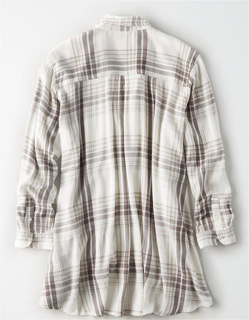AE Plaid Tunic Button Up Shirt Κρέμ 1