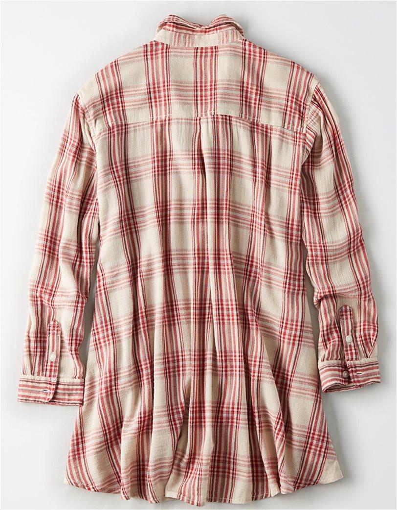 AE Plaid Tunic Button Up Shirt 1