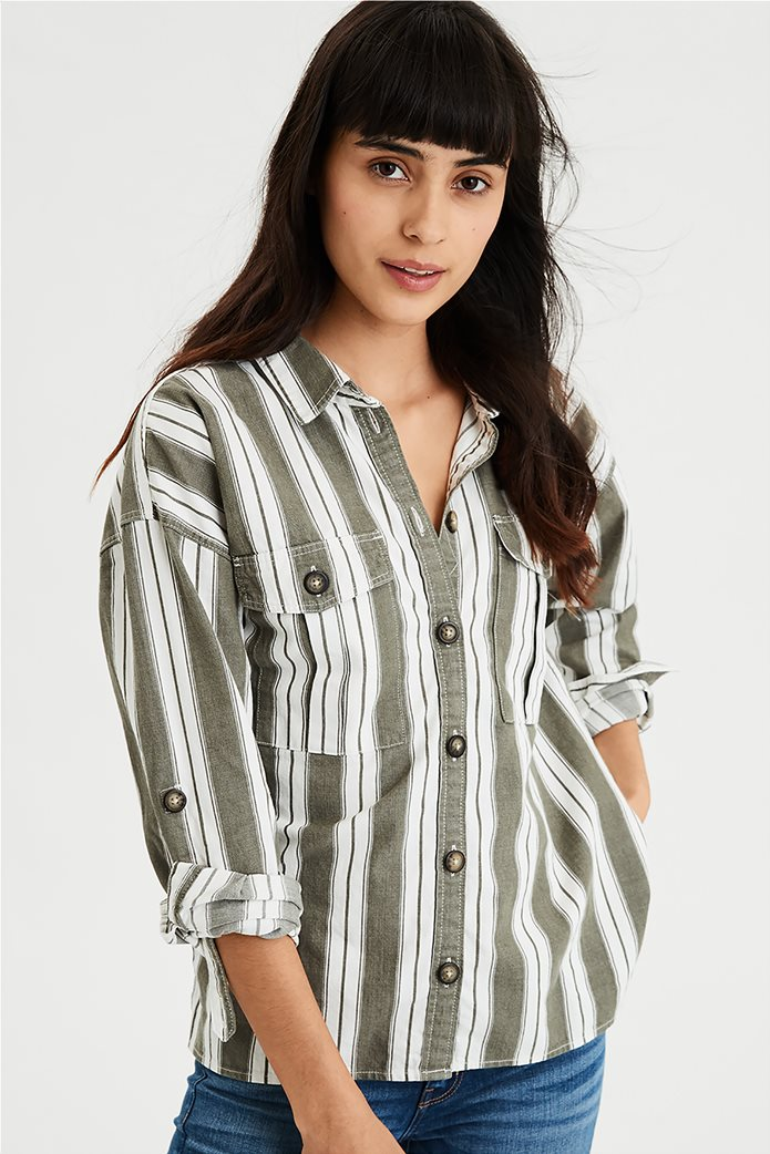 AE Long Sleeve Stripe Button Down Top Μπεζ 0
