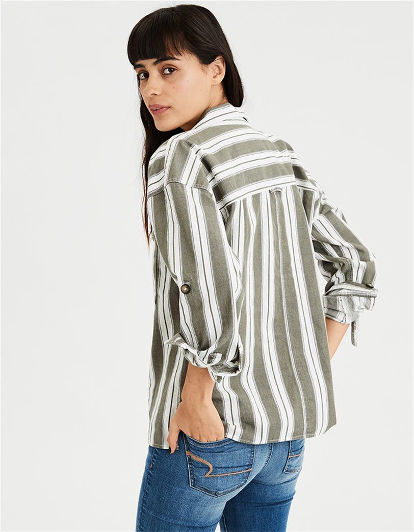 AE Long Sleeve Stripe Button Down Top Μπεζ 1