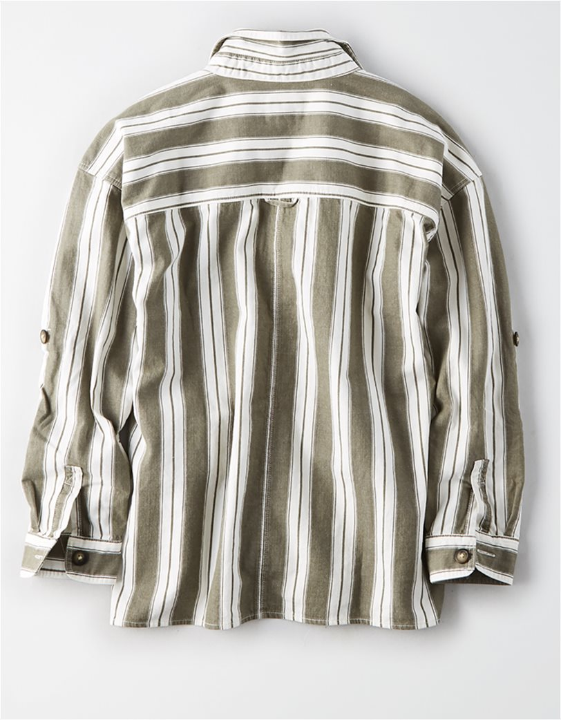 AE Long Sleeve Stripe Button Down Top Μπεζ 3