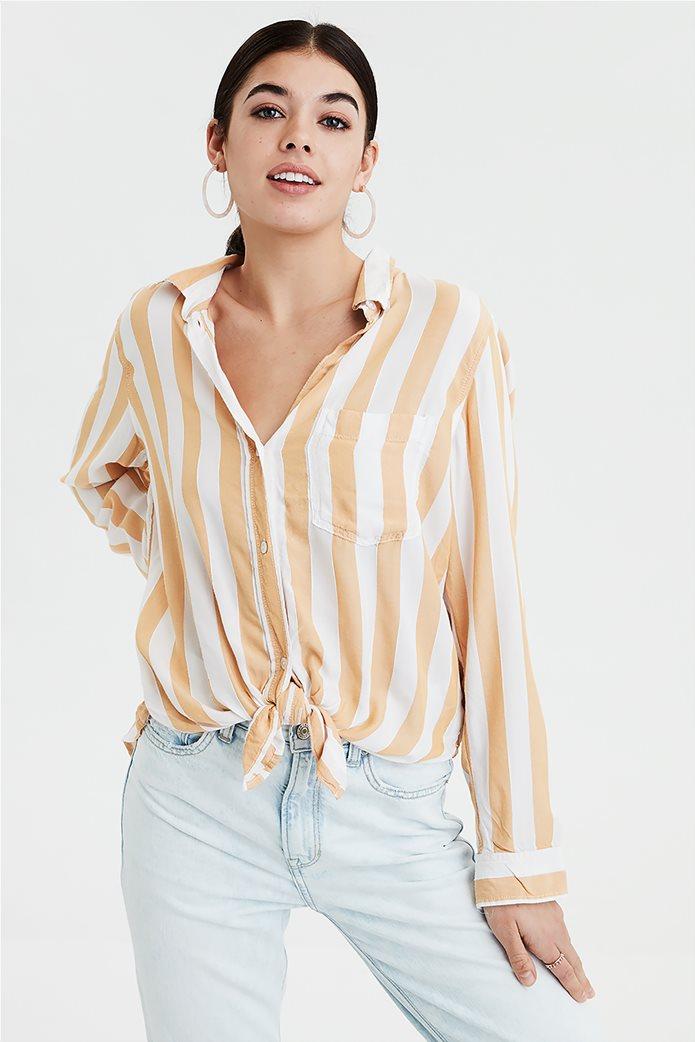 AE Striped Button Down Shirt Μουσταρδί 0