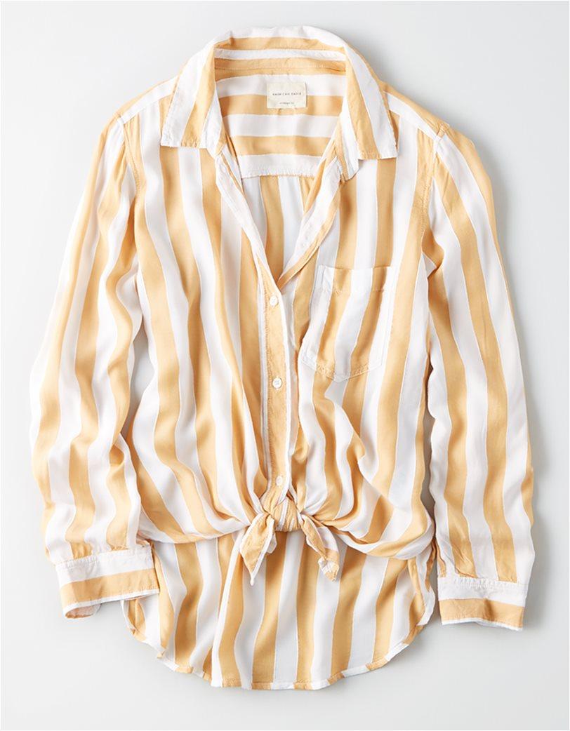 AE Striped Button Down Shirt Μουσταρδί 2