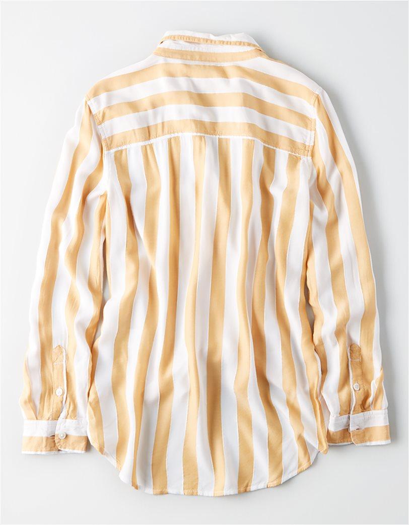 AE Striped Button Down Shirt Μουσταρδί 3