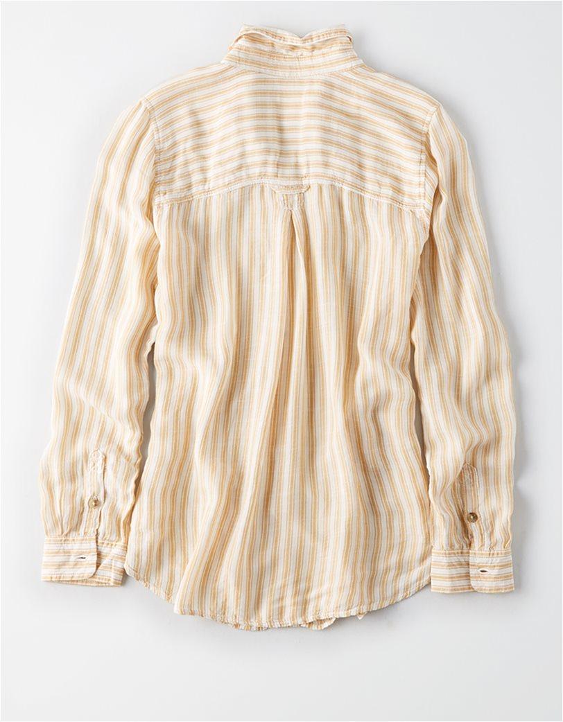 AE Boyfriend Stripe Button-Down Κίτρινο 3