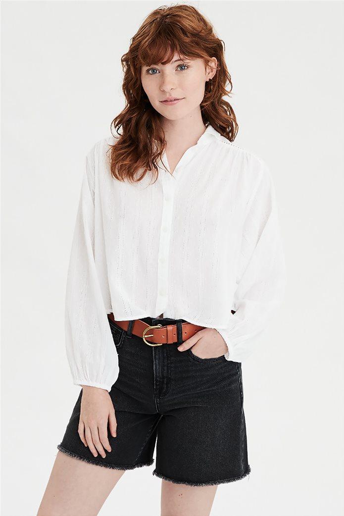 AE Lace Button Down Shirt Λευκό 0