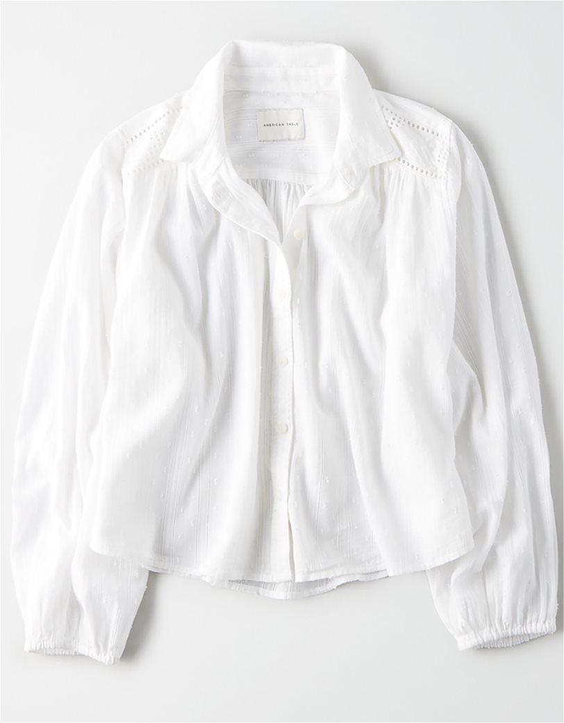 AE Lace Button Down Shirt Λευκό 2