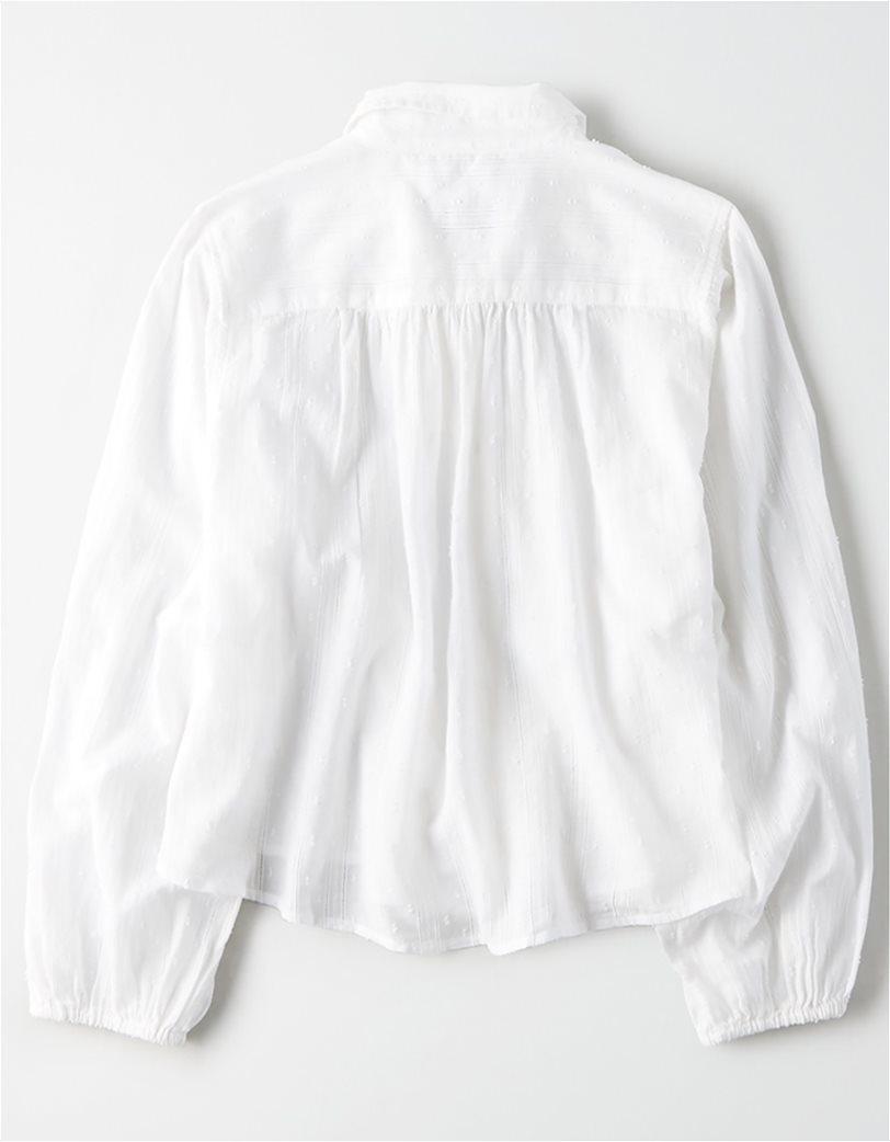 AE Lace Button Down Shirt Λευκό 3