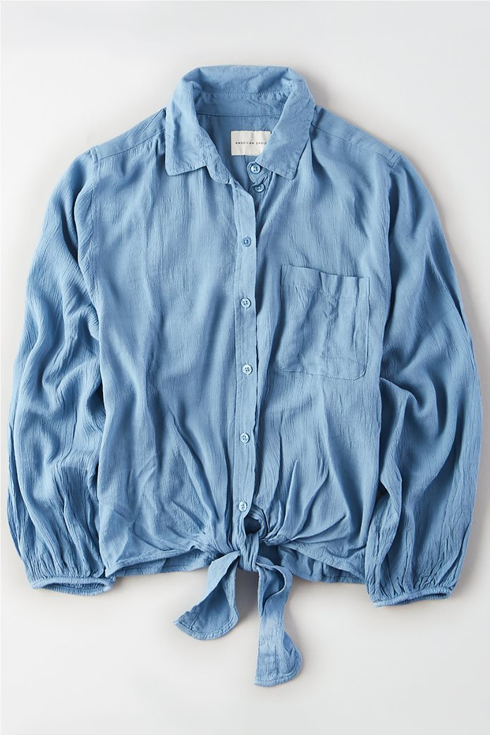 AE Tie Front Button Down Shirt Γαλάζιο 0