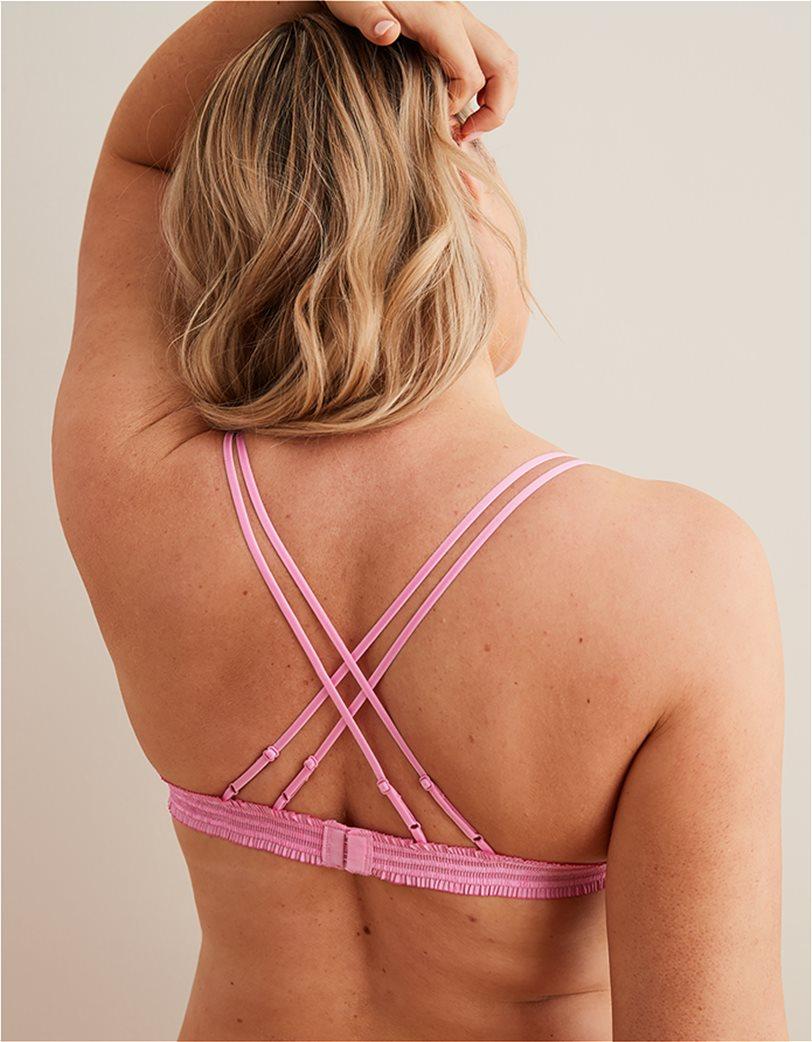 Aerie Embroidered Triangle Bralette Ροζ 2