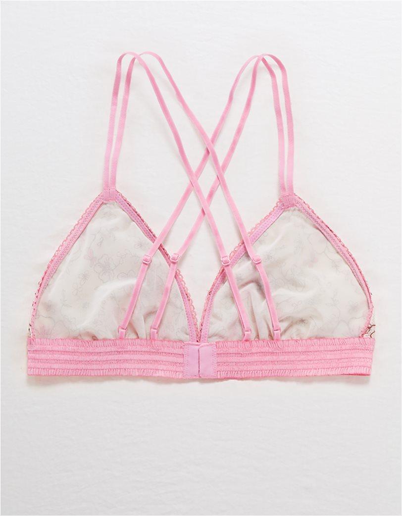 Aerie Embroidered Triangle Bralette Ροζ 4