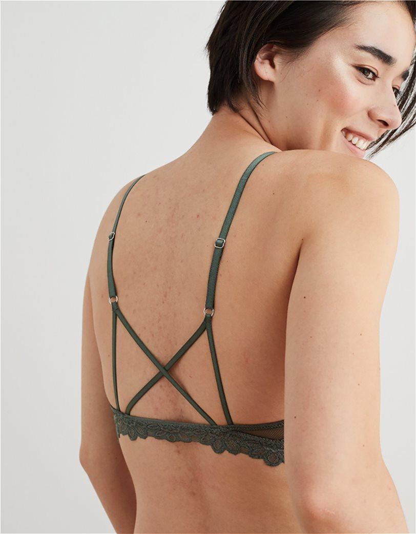 Aerie Desert Lace Triangle Bralette Χακί 1