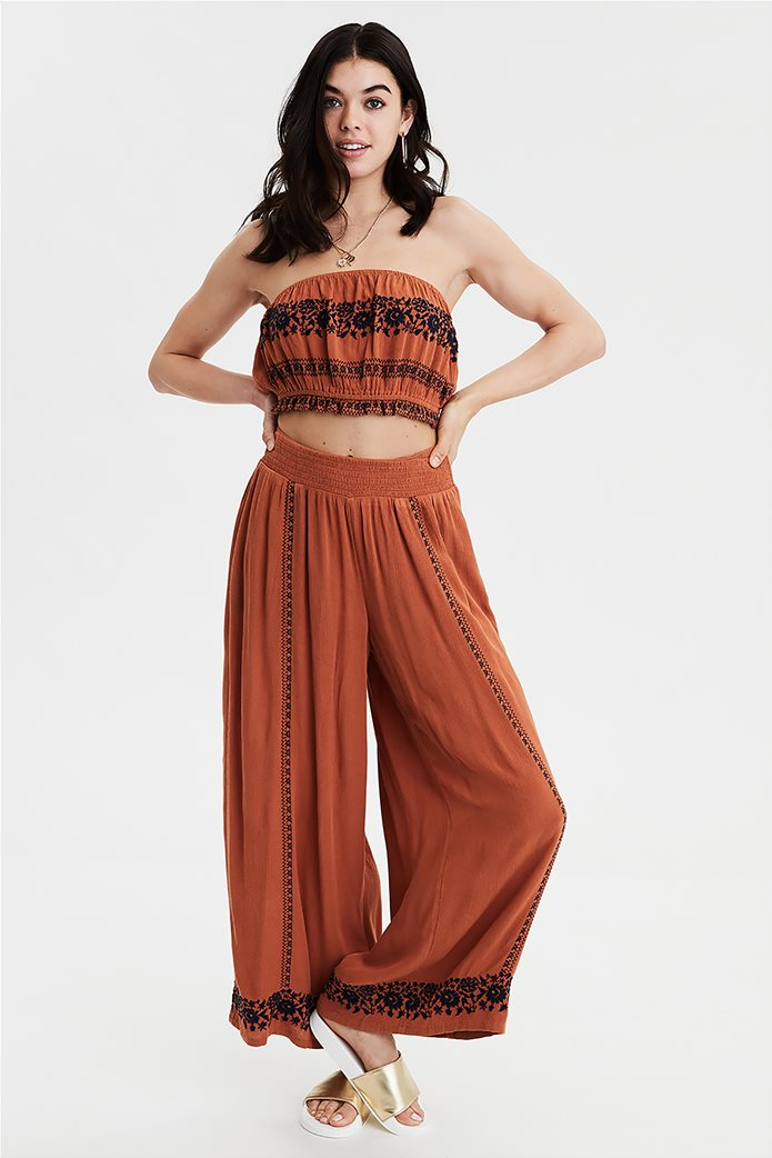AE Embroidered Cropped Tube Top Μπλε 0