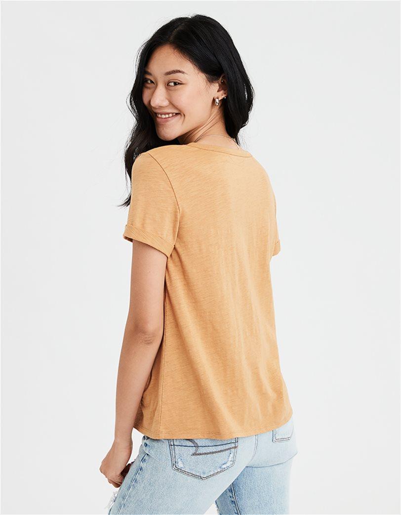 AE V-Neck Favorite T-Shirt Μουσταρδί 1