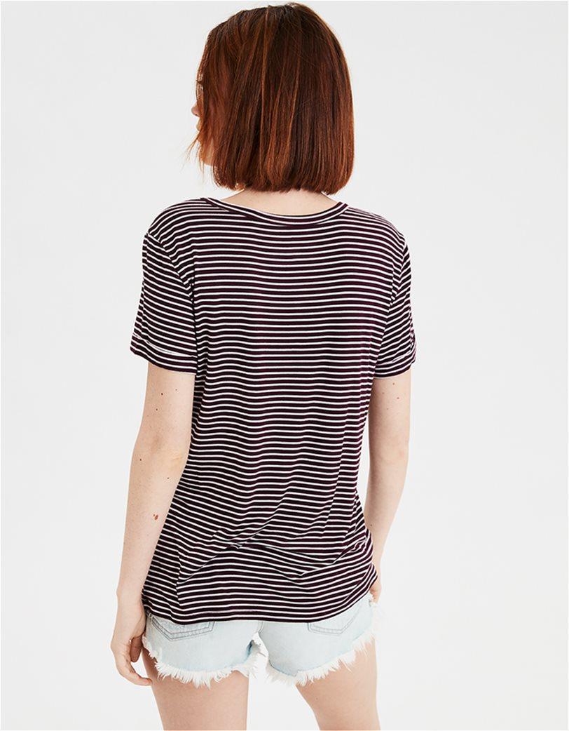AE V-Neck Striped Favorite T-Shirt Μοβ 1