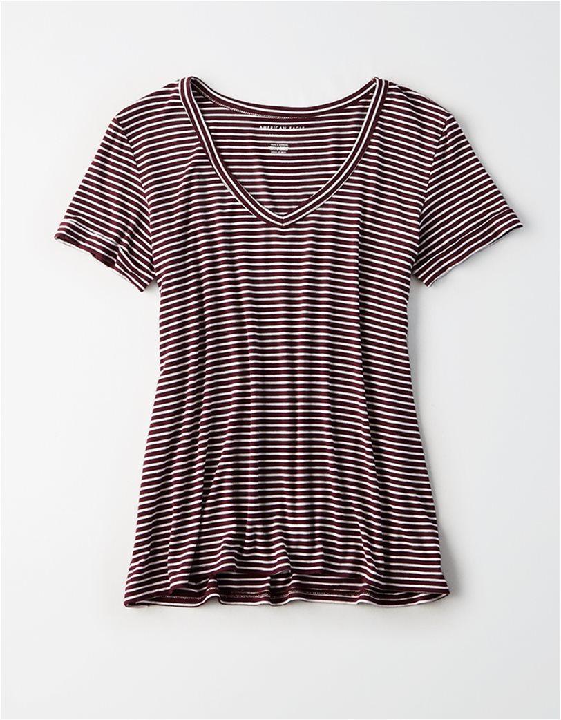 AE V-Neck Striped Favorite T-Shirt Μοβ 2
