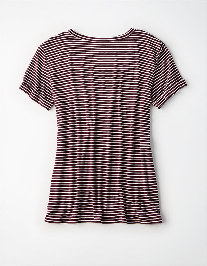 AE V-Neck Striped Favorite T-Shirt Μοβ 3