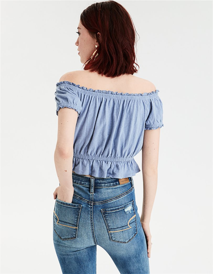 AE Off The Shoulder Embroidered Tee Μπλε 1