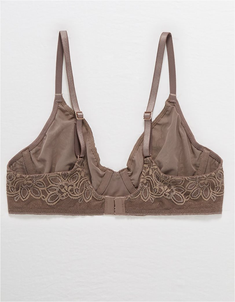 Aerie Real Power Plunge Unlined Bra Καφέ 4