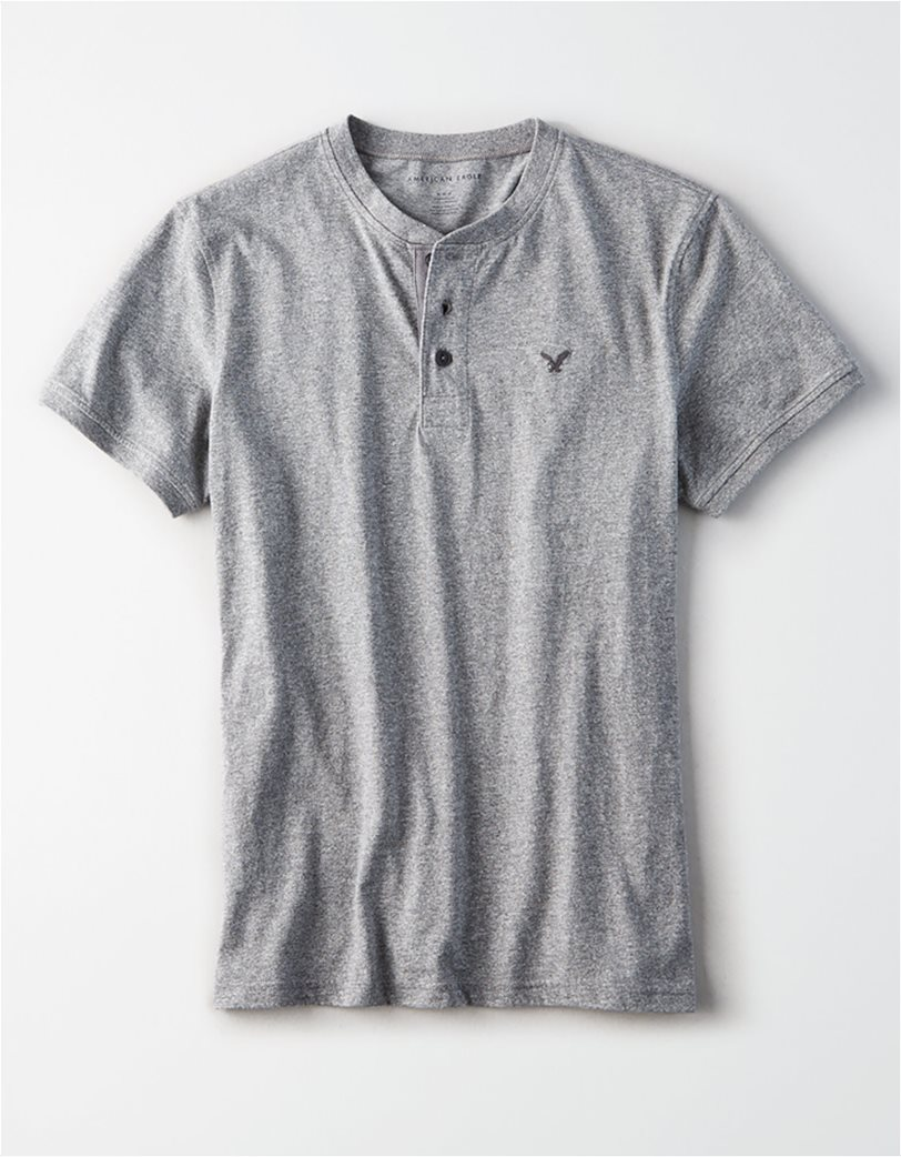AE Logo Slub Henley T-Shirt Ανθρακί 2