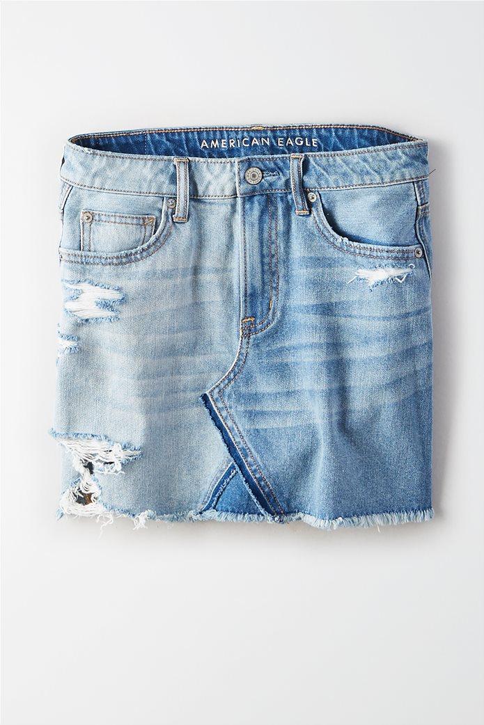 High-Waisted Festival Denim Skirt Μπλε 0