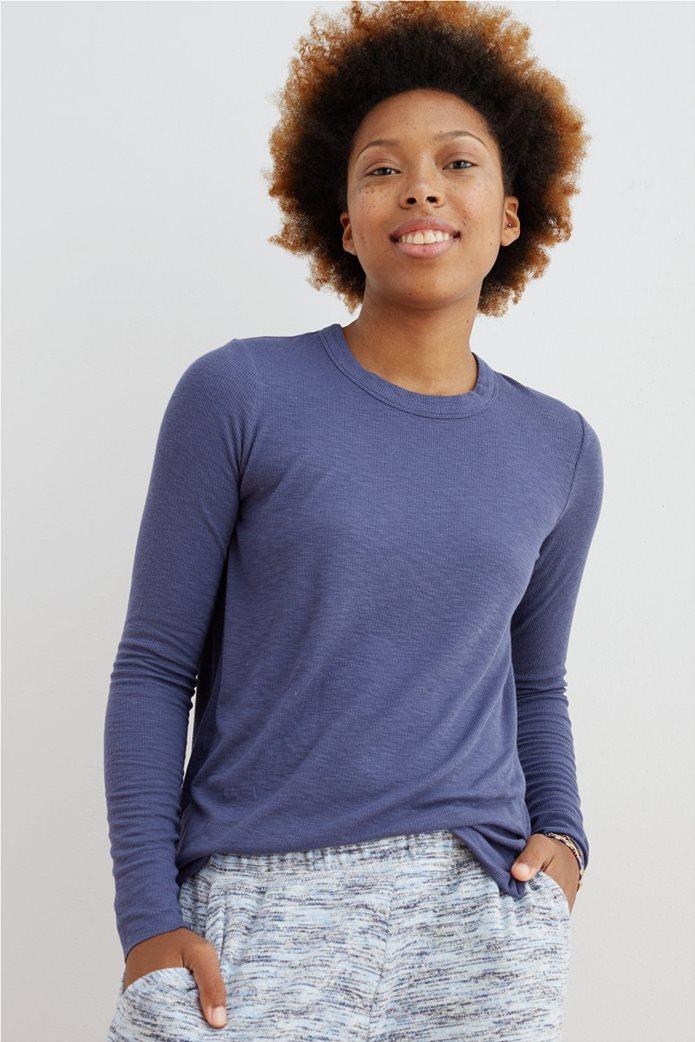 Aerie Ribbed Long Sleeve T-Shirt Μπλε 0