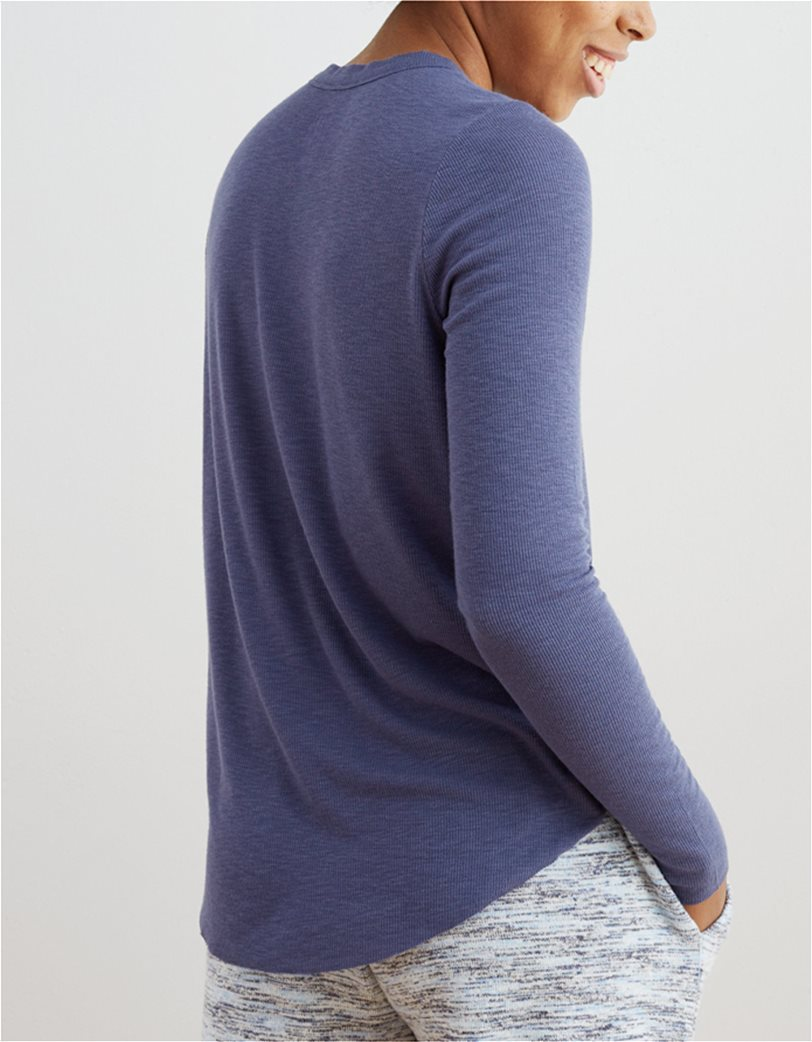 Aerie Ribbed Long Sleeve T-Shirt Μπλε 1