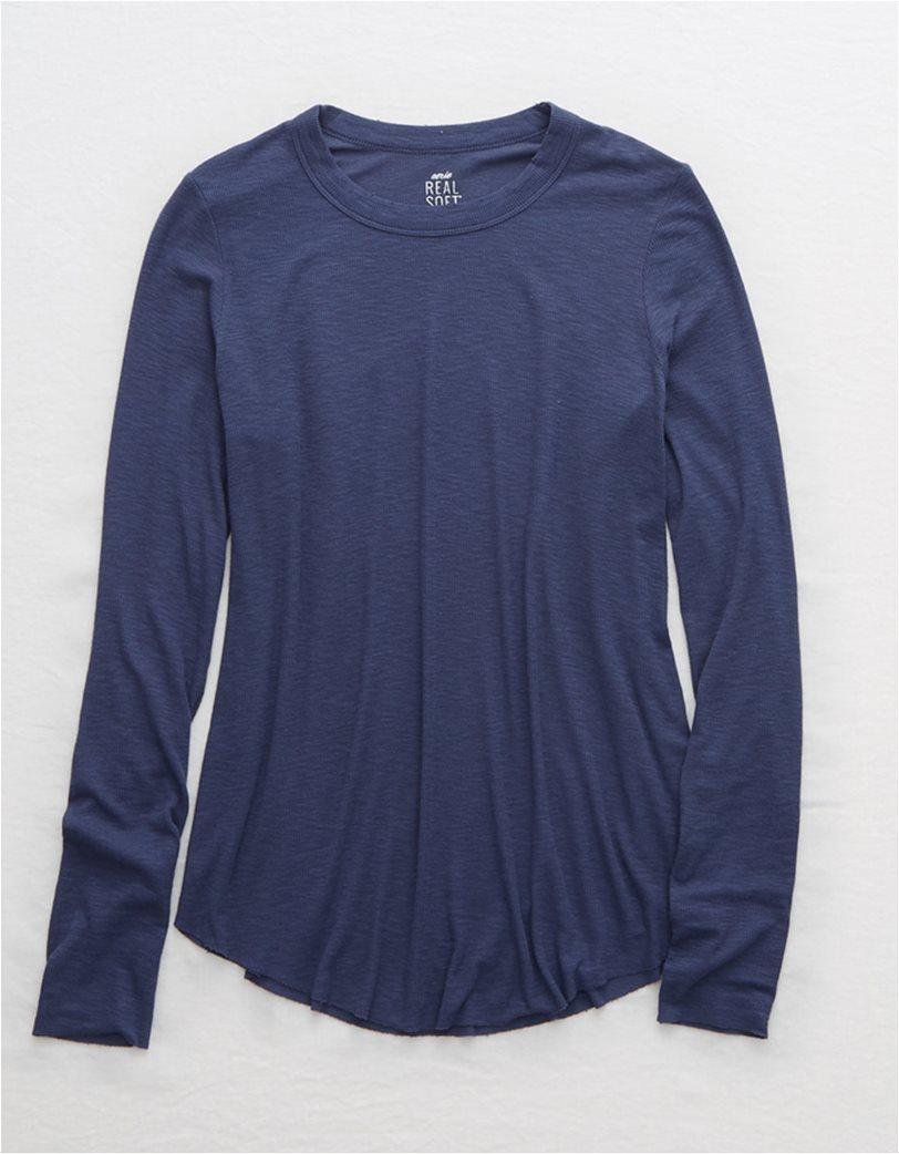 Aerie Ribbed Long Sleeve T-Shirt Μπλε 2