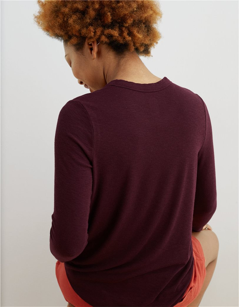 Aerie Ribbed Long Sleeve T-Shirt Μπορντό 1