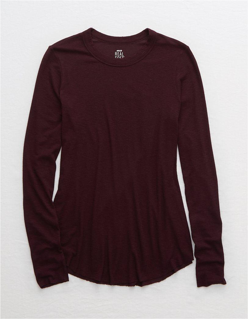 Aerie Ribbed Long Sleeve T-Shirt Μπορντό 2