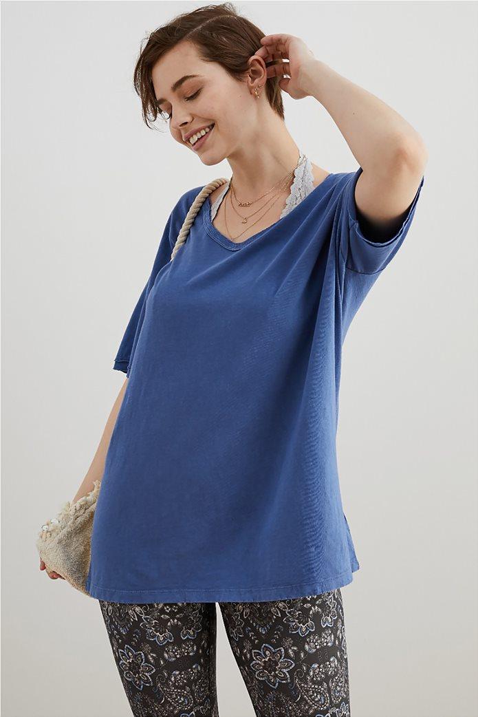 Aerie Distressed V-Neck Boyfriend T-Shirt Μπλε 0