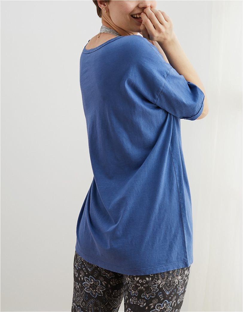 Aerie Distressed V-Neck Boyfriend T-Shirt Μπλε 1