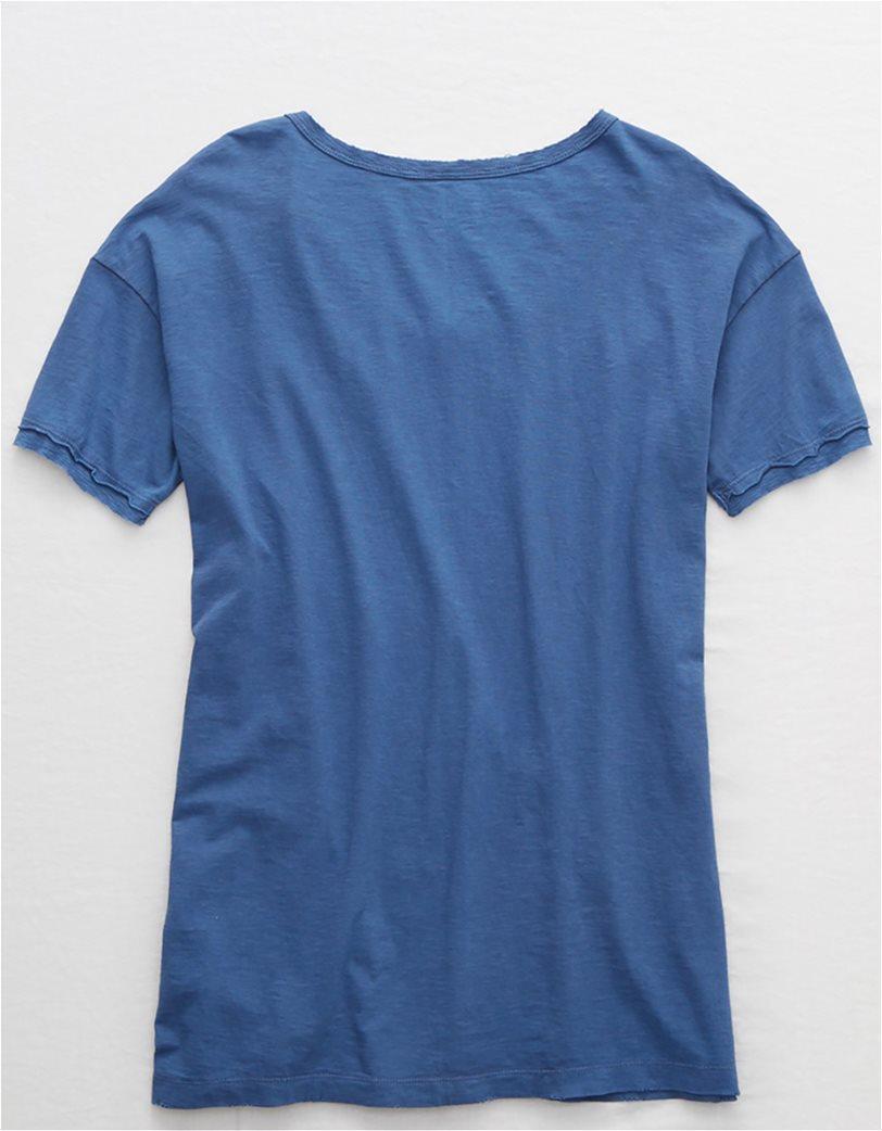 Aerie Distressed V-Neck Boyfriend T-Shirt Μπλε 3