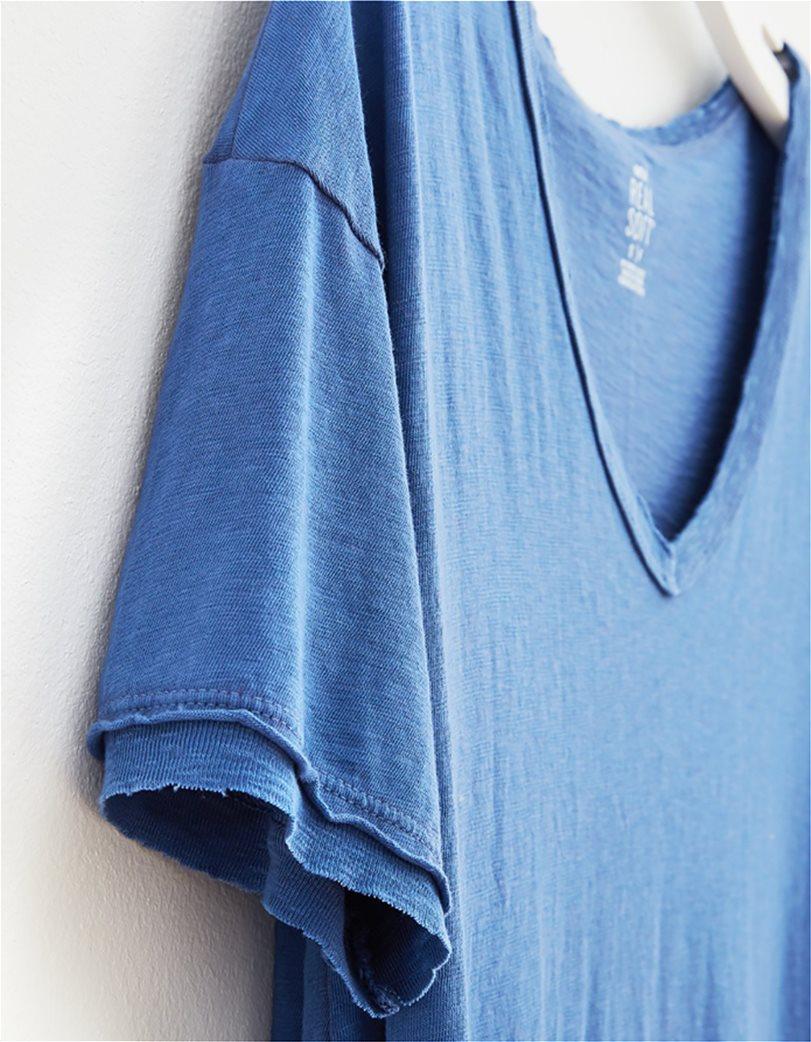 Aerie Distressed V-Neck Boyfriend T-Shirt Μπλε 4