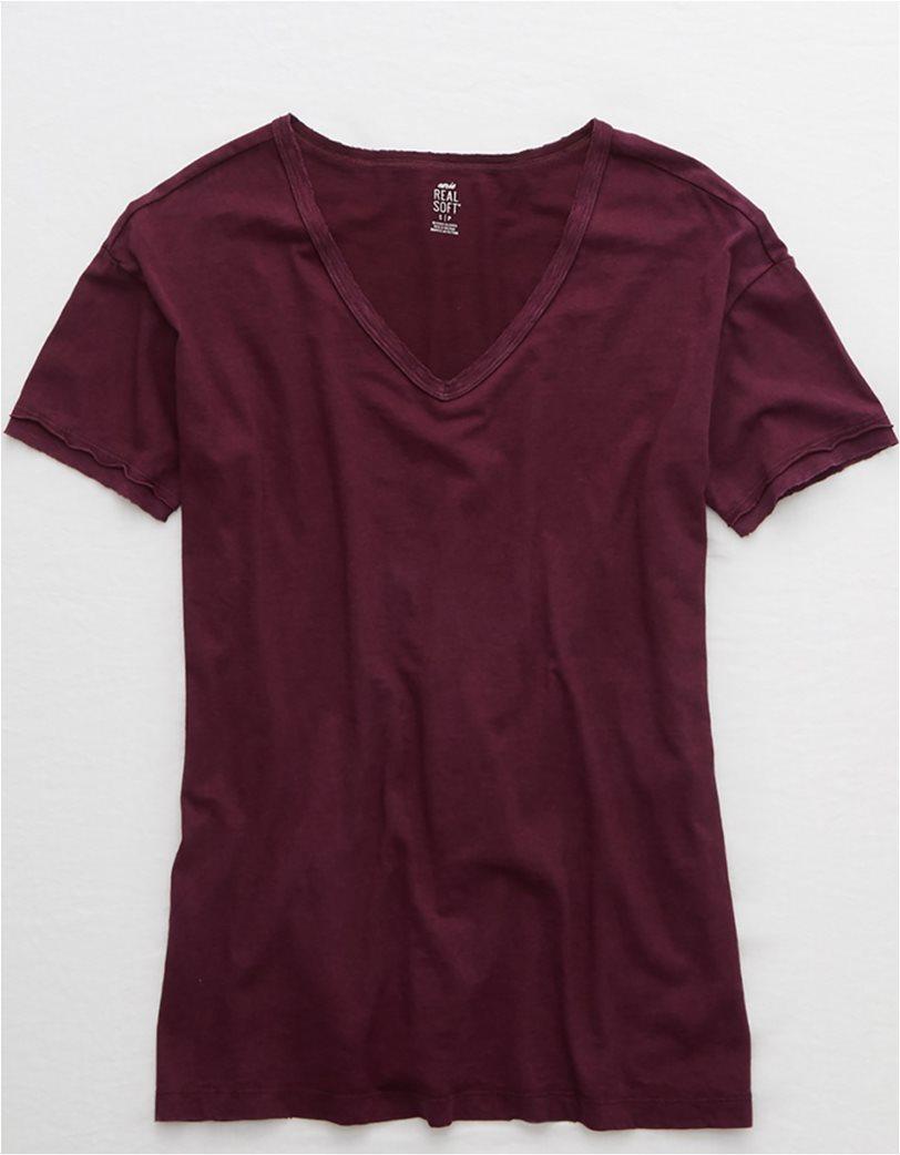 Aerie Distressed V-Neck Boyfriend T-Shirt Μπορντό 3