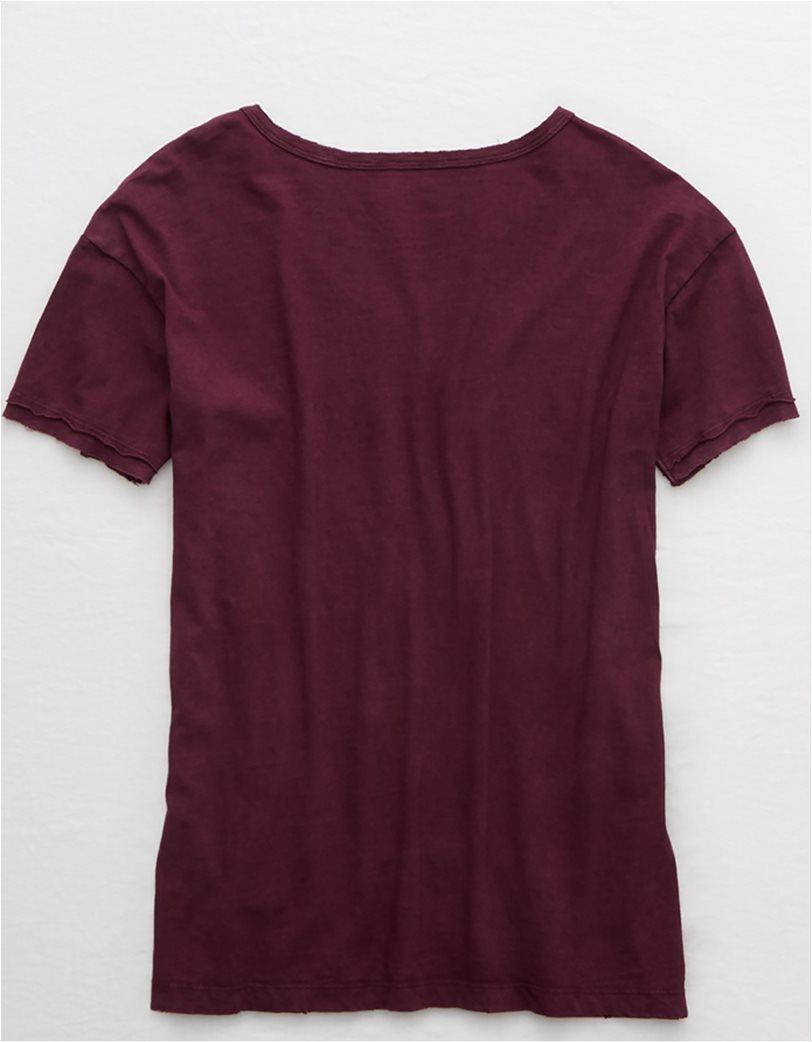 Aerie Distressed V-Neck Boyfriend T-Shirt Μπορντό 4