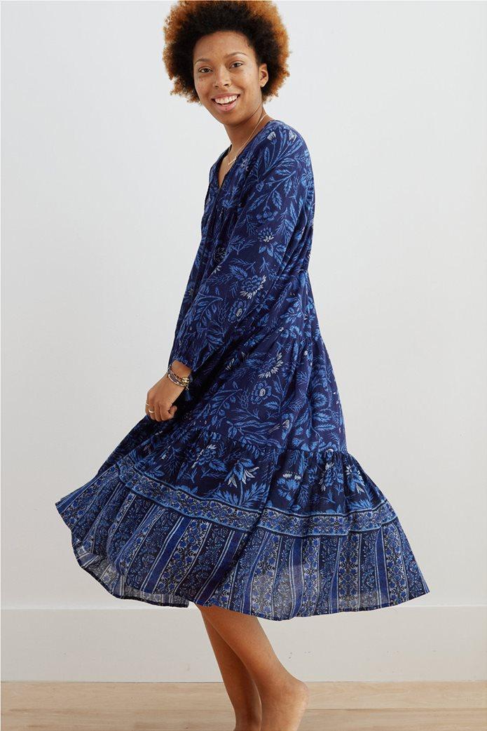 Aerie Long Sleeve Tiered Midi Dress Μπλε Σκούρο 0