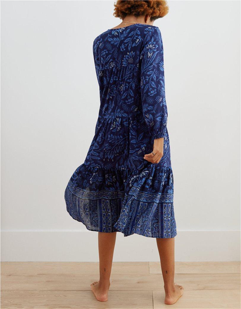 Aerie Long Sleeve Tiered Midi Dress Μπλε Σκούρο 1