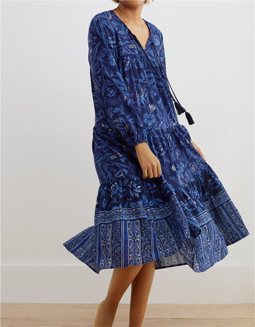 Aerie Long Sleeve Tiered Midi Dress Μπλε Σκούρο 2