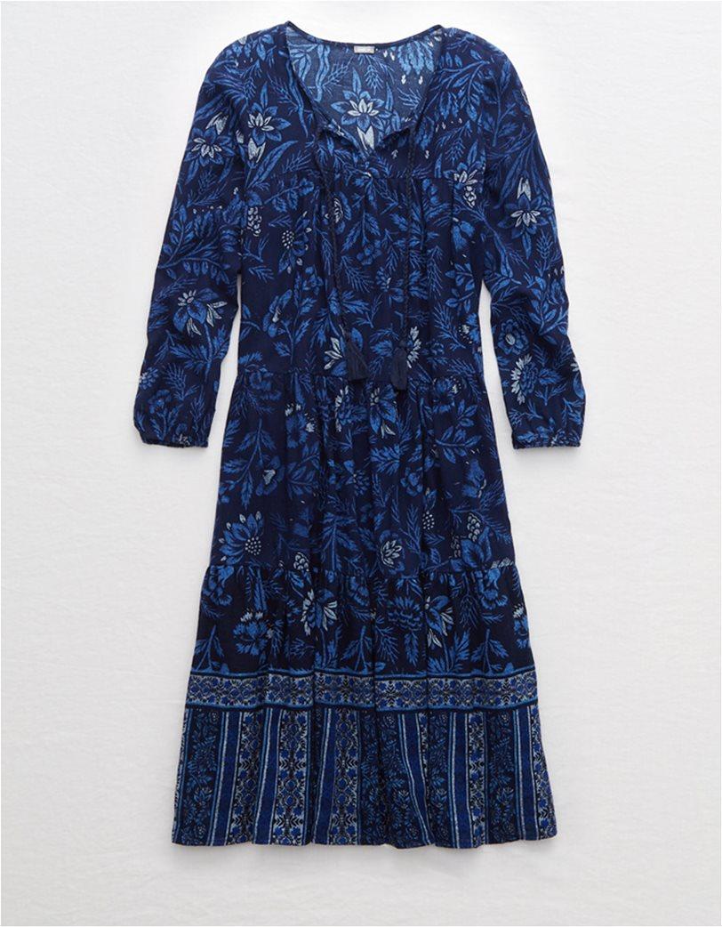 Aerie Long Sleeve Tiered Midi Dress Μπλε Σκούρο 3