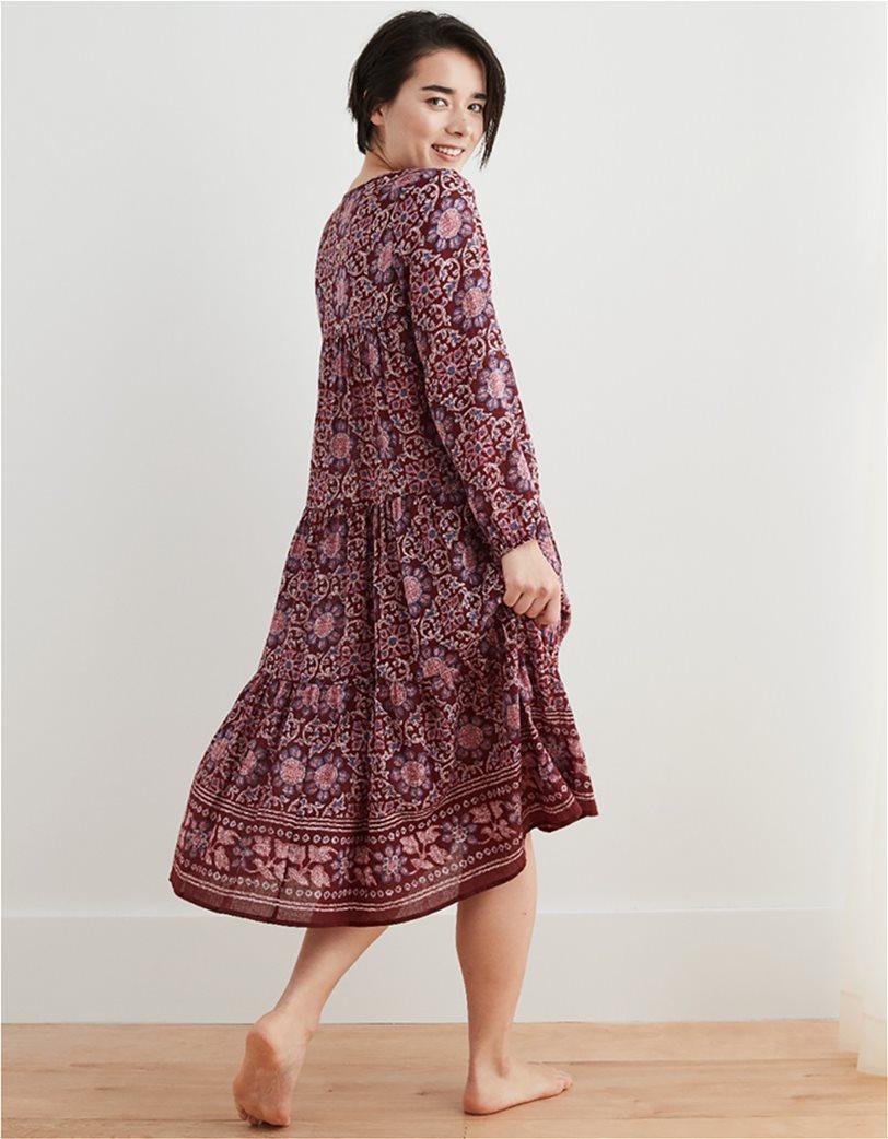 Aerie Long Sleeve Tiered Midi Dress Μπορντό 1
