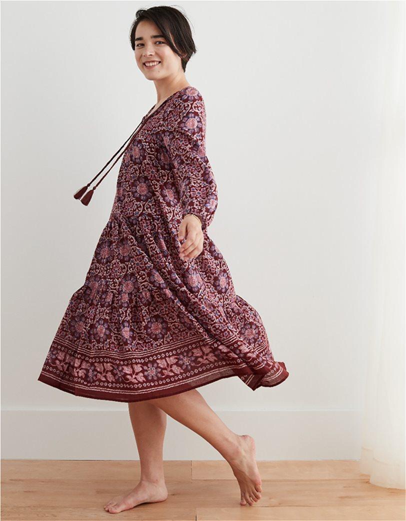 Aerie Long Sleeve Tiered Midi Dress Μπορντό 2