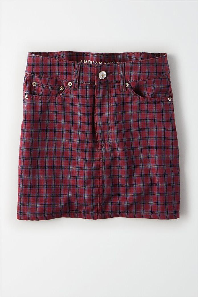 AE Ne(X)t Level High-Waisted Plaid Mini Skirt Μπορντό 0