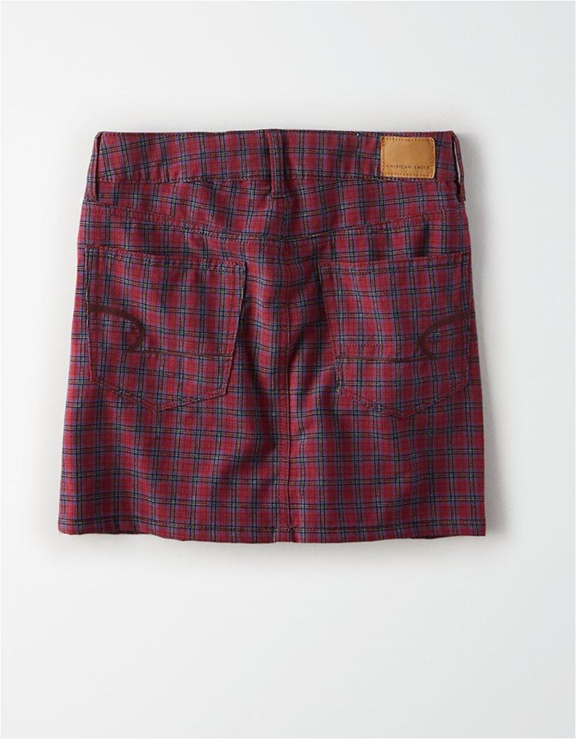 AE Ne(X)t Level High-Waisted Plaid Mini Skirt Μπορντό 1