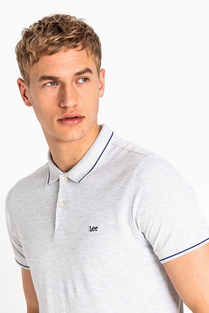 Lee ανδρική πικέ πόλο μπλούζα με ριγέ λεπτομέρειες 4