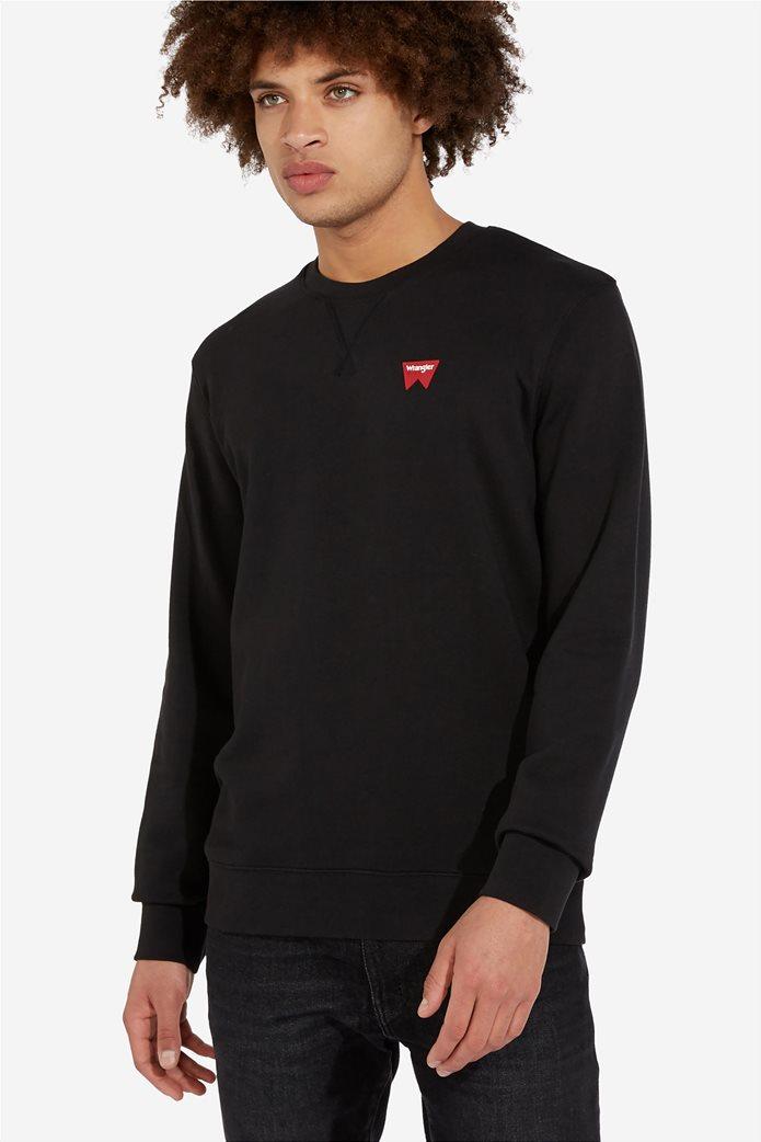 """Wrangler ανδρική μπλούζα μονόχρωμη με logo print """" Sign off """" 2"""
