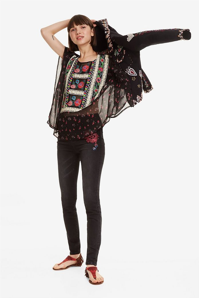 Desigual γυναικεία μπλούζα εμπριμέ με κεντήματα και δαντέλα Kassandra 1