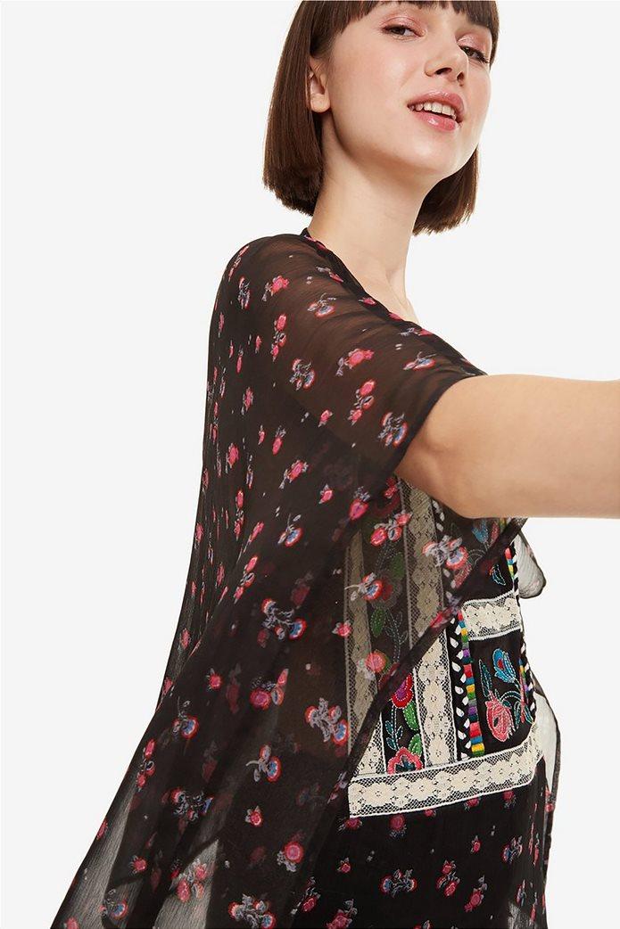 Desigual γυναικεία μπλούζα εμπριμέ με κεντήματα και δαντέλα Kassandra 3