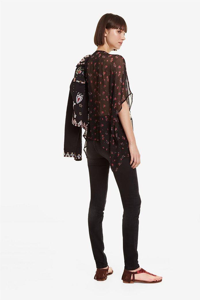 Desigual γυναικεία μπλούζα εμπριμέ με κεντήματα και δαντέλα Kassandra 4